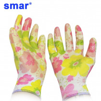 1 Pair Women Use Yellow Flower Printed Garden Gloves Safety Gloves Nylon With Nitrile Coated Work Glove