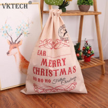 Christmas Linen Print Gift Bag Santa Claus Candy Bags Christmas Decorations for Home New Year Christmas Ornaments
