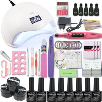Manicure Kit for Nail Set with 54/48/36W UV Lamp Nail Drill Machine choose 6 Color UV Gel Nail Polish Kit Nail Extension Set