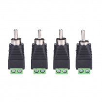 New 4pcs/lot CCTV Phono RCA Male Plug TO AV Terminal Connector Video AV Speaker Wire cable to Audio Male RCA Connector Adapter