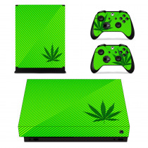 Green Leaf Weed Skin Sticker Decal For Microsoft Xbox One X Console and 2 Controllers For Xbox One X Skin Sticker Vinyl