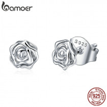 BAMOER Authentic 925 Sterling Silver Romantic Rose Flower Stud Earrings for Women Fashion Sterling Silver Jewelry BSE012