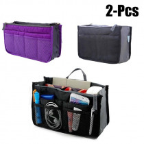 2pcs Multifunction Makeup Organizer Bag Women Travel Cosmetic Bags Make Up Bag Nylon Toiletry Kits Makeup Bags Cases Cosmetics