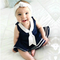 2019 Baby Girls Sailor Suit Toddler Kid Baby Girls Dress Summer Sleeveless Casual Uniform Baby Girls Clothes Beach Party Dresses