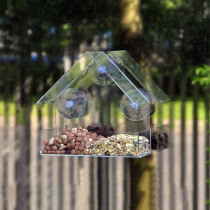 Cute Acrylic Pet Bird Feeder Clear Watering Creative Window Squirrel Proof Bird Feeder Window Bird Feeders For Small Animals