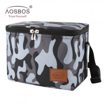 Aosbos Portable Cooler Lunch Bags Insulated Camo Thermal Lunchbox Shoulder Food Picnic Bag Cooler Tote Handbags for Men Women