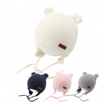 Knit Warm Baby Hat Cute Bear Baby Hat For Girls Infant Toddler Earflap Beanie Spring Autumn Cotton Boy's Hat Baby Accessories