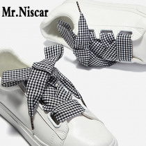 Mr.Niscar 1Pair Wide 2.5cm Colored Plaid Shoelaces for Women Shoes Polyester Flat Shoelace British Style Satin Ribbon Shoe Laces