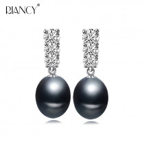 2019 Fashion black Pearl Earrings Natural Freshwater Pearl  stud Earring 925 Sterling Silver Jewelry For women wedding gift