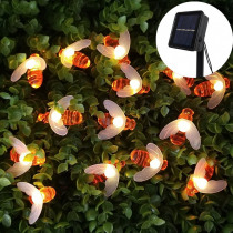 20leds 30leds 50leds Solar Powered Cute Honey Bee Ladybug Led String Light Outdoor Waterproof Garden Fence Patio Christmas Light