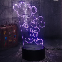 NEW Novelty Cute Mickey Mouse Holding Balloon Cartoon 3D LED Night Light Desk Lamp Childlike Birthday Christmas Gift Home Decor
