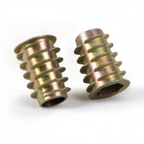 50cs/Lot Zinc Plated Nuts For Wood Insert Lock Nut Flanged Hex Drive Head Furniture Nuts Hardware Fasteners