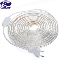 5050 Flexible LED Strip light AC220V 60leds/m Waterproof IP67 Led Tape LED Light With EU Power Plug 1M/2M/3M/8M/9M/10M/20M