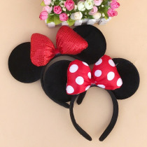 Mouse Ears Hairband Quality Minnie Shiny Hairband Black Mouse Ears Headbands for Women Hair Bows Accessories Birthday Party
