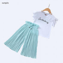2019 Summer Girls Clothing Sets Kids Printed T-shirt +Wide Leg Pants Suits Children Short Sleeve Baby Girl Clothes