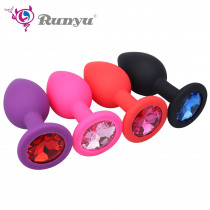 Small Medium Large Safe Silicone Butt Plug With Crystal Jewelry Anal Plug Vaginal Plug Anal Toys For Woman & Men