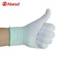 ABESO 12 pairs labor nylon gloves 13 gauge knitting white wear-resisting cleaning,worker, experiment safety work gloves A7006
