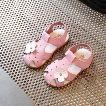 Summer Children Sandals for Girls 2017 Flowers Tendon Soft Bottom Baby Shoes Princess Shoes Toddler Shoes White