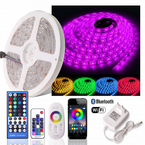 5050 RGB LED Strip 12V Waterproof Dimmable Flexible Neon Lights Fita Led RGB Tape Tira LED WiFi 24keys/Bluetooth/2.4G Remote Set