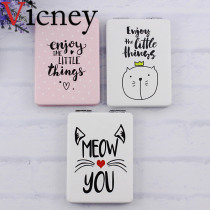 Vicney 1pcs Fashion simple style Makeup Mirror Folding Portable Pocket Cosmetic Make-up Cute Square Shape Hand Mirror Women