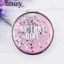Vicney Makeup Mirror Portable Double-Sided Folding Cosmetic Mirror Female Gift With flowing sparkling sand Compact Pocket Mirror