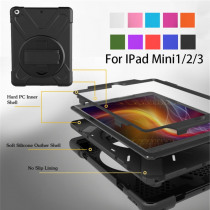 Case For iPad Mini1/2/3 Kid Safe Shockproof Heavy Duty Silicone Hard Cover for apple ipad mini 1 2 3 Stand case with Wrist strap