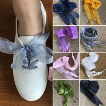 1 Pair Women Shoelaces Flat Silk Satin Ribbon Sport/Canvas/Casual Shoes Sneakers Laces Shoe strings 110cm x 2.5cm