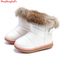 Winter Fashion child girls snow boots shoes warm plush soft bottom baby girls boots leather winter snow boot for baby