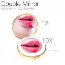 LED Lighted Mini Makeup Mirror 10X Magnifying Compact Travel Portable Lighting Makeup Mirror