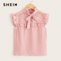 SHEIN Kiddie Girls Pink Solid Stand Collar Contrast Dot Mesh Blouse Kids Tops 2019 Summer Cap Sleeve Bow Front Sheer Cute Blouse