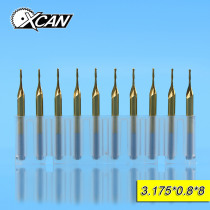 XCAN 10pcs 0.8mm TiCN coating Ball Nose End Mills 8mm cutting length Wood spiral router bits 3.175shank CNC milling cutter