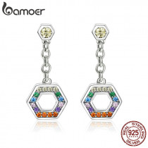 BAMOER Classic 925 Sterling Silver Colorful CZ Rainbow Geometric Drop Earrings for Women Fashion Sterling Silver Jewelry SCE454