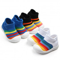 Fashion Infant Kid Baby Boy Girl Soft Sole Crib Shoe Sneaker Rainbow Anti-Slip Breathable Casual Sports Flying Woven Shoes