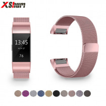 XShum Metal Stainless Strap For Fitbit Charge 2 Band Milanese Loop Magnetic Fitbit charge 3 Strap Smart bracelet For Women Men