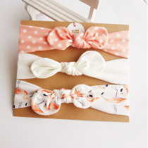 3Pcs Cute Rabbit Ear Baby Headband Neonata Bow Flower Elastic Bandanas Baby Girls Headbands Children Turban Hair Accessories Set