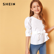 SHEIN Kiddie Girls White Solid Asymmetrical Neck Cute Blouse With Belt Kids Tops 2019 Summer Holiday Puff Sleeve Beach Blouses