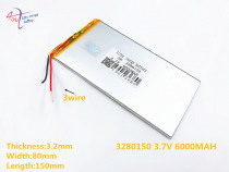 3 line 3.7V,6000mAH,[3280150] PLIB ( polymer lithium ion battery ) Li-ion battery for tablet pc,GPS,mp3,mp4,cell phone,speaker
