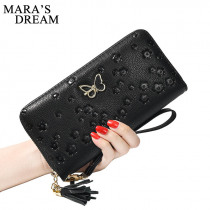 Mara's Dream Women Thin Wallet New PU Leather Solid Color Floral Butterfly Tassel Women Purse Phone Wallet Long Card Holders Bag