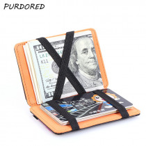PURDORED 1 pc Magic Card Holder PU Leather Credit Card Holder ID Card Wallet Case To Protect Cards tarjetero Dropshipping