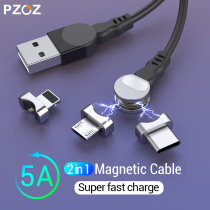 PZOZ 2 in 1 Rotatable Magnetic USB Cable For iPhone XS Max XR X 8 Fast Charging Charger Micro USB Cable 2 in 1 Phone USB Type c