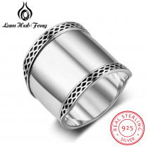 925 Sterling Silver Rings for Women 20mm Wide Wedding Bands with Wave Lace Rings High Quality Present