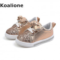 Kids Shoes For Girls Children Casual Shoes Baby Girls Sneaker Bow-knot Glitter Leather Toddler Princess Shoes Pink Spring Autumn