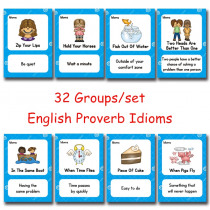 32 Groups/set English Proverb Idioms Montessori Toys Learn English Card for Children Educational English Pocket Word Card