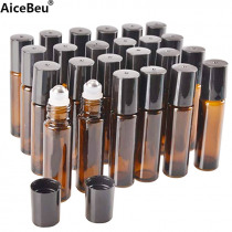 AiceBeu 10/20 Pcs 10 ml Amber Glass Roller Bottle Bottles with Removable Stainless Steel Roller Ball for Essential Oil Perfume