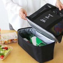 Portable Double Thermal Insulated Cooler Lunch Bag Food Picnic Beach Mesh Bags Tote Handbag