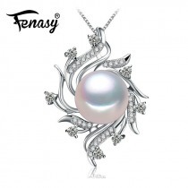 FENASY Bohemian S925 Sterling Silver Natural Pearl Jewelry Necklaces Fashion CZ Geometric Pendants For Women Anniversary Gift