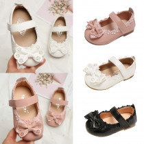 2019 New Girls leather shoes Baby girls princess bowknot sneakers pearl diamond single shoes Kids Girls dance shoes