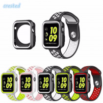 Silicone case+strap for apple watch band 42mm 38mm Nike sport band bracelet belt watchband+Protective cover for iwatch 2/1