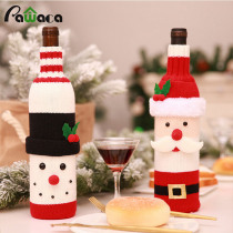 Christmas Wine Bottle Cover Decor Set Santa Claus Snowman Bottle Cover Clothes Kitchen Home Decoration New Year Gift Bag Holder