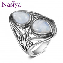 Original Design Vintage Natural Rainbow Moonstone Ring Real 925 Sterling Silver Rings For Women Men Female Fine Jewelry Gifts